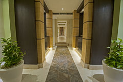 Corridor inside a luxury health spa Stock Image
