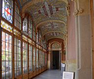 Corridor, inside Sant Peu and Santa Creu Hospital, built art nouveay style in Barcelona, May 2014 Royalty Free Stock Images