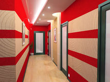 Corridor interior. Modern corridor interior image (3D rendering Royalty Free Stock Photo
