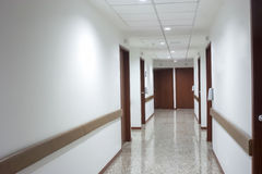 Corridor interior inside a modern hospital Stock Photos