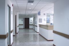 Corridor interior inside. A modern hospital, clean and tidy Stock Photos
