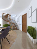 The corridor leading to the spiral staircase to the second floor. On the floor in the corridor on the floor vases in white pots. 3D render Royalty Free Stock Photo