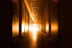 Corridor with light at the end Stock Image