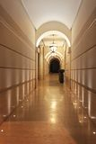 Corridor. Long marble corridor hallway with arch Royalty Free Stock Photography