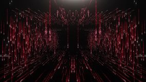 Red corridor from the matrix code stock footage