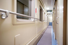 Corridor in the modern compartment car Royalty Free Stock Photo