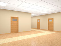 Corridor in modern office interior. 3D render Stock Photos