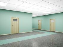Corridor in modern office interior. 3D render. Corridor in modern office interior with several doors and walls of green. 3D render