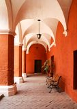 The corridor in the Monastery of Saint Catherine. For nons Arequipa, Peru stock photos
