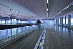 Corridor with moving walkway, Beijing Capital International Airport. Royalty Free Stock Photo