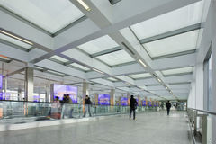 Corridor with moving walkway, Beijing Capital International Airport. Royalty Free Stock Photography