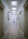 Corridor neoclassic style. 3d render Royalty Free Stock Image