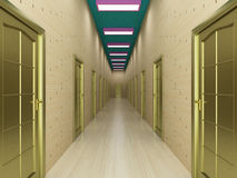 Corridor with a number of doors. Royalty Free Stock Image