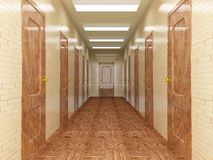 Corridor with a number of doors. Stock Images
