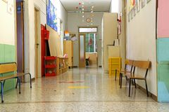 Corridor of a nursery school during the holidays without childre Stock Image