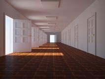 Corridor with open doors Stock Image
