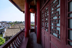 The corridor outside Wangyue Tower (Moon Tower) Stock Photography