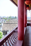 The corridor outside Wangyue Tower (Moon Tower) stock image