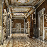 Corridor in a palace. Ornamented corridor in a fantasy palace Royalty Free Stock Photos