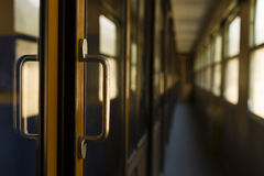 Corridor, passenger railroad car interior Royalty Free Stock Photos