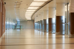 Corridor with pillar in aeroport Stock Images