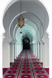 The corridor with pink carpet in Koutoubia Mosque at Marakesh, M Royalty Free Stock Images