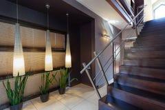 Corridor, plants and staircase Stock Photos