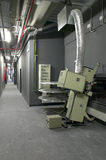 Corridor with projectors and machinery for cinemas Stock Photos