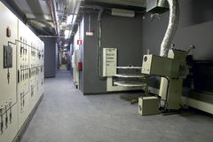 Corridor with projectors and machinery for cinemas Royalty Free Stock Images