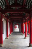 Corridor. The red columns of the corridor Stock Images