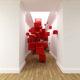 Corridor and red cubes Stock Photos