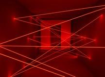 Corridor with red security laser sensor plexus net. 3D rendering stock illustration