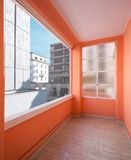 Corridor in the apartment with large windows and lots of light. Corridor in a renovated historic apartment in the city center royalty free stock image