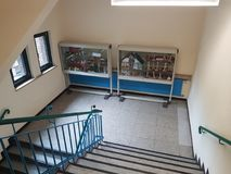 Corridor of school. DUISBURG, GERMANY - 31 Aug. 2017 The corridor of a primary school GGS Boehmer street during the lessons without children Royalty Free Stock Photography