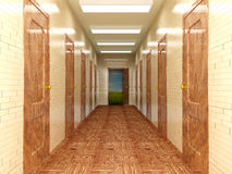 Corridor with a several of doors. Stock Photo