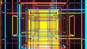 Corridor with shining neon disco style cubes 3D rendering stock image