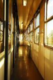 Corridor in the train wagon. View Inside the train wagon Royalty Free Stock Image