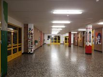 Corridor walls of the school. DUISBURG, NRW, GERMANY - 9 Sep. 2017 The corridor walls of the comprehensive school Sued on Saturday morning Royalty Free Stock Photo