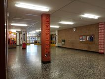 Corridor walls of the school. DUISBURG, NRW, GERMANY - 9 Sep. 2017 The corridor walls of the comprehensive school Sued on Saturday morning Stock Photos