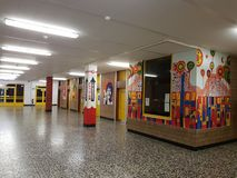 Corridor walls of the school. DUISBURG, NRW, GERMANY - 9 Sep. 2017 The corridor walls of the comprehensive school Sued on Saturday morning Stock Photo
