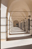 Corridor with White Walls Hot Summer Day Arabic Prison in Israel Stock Image