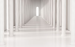 Free Corridor With Roman Pillars And Bright Light At The Exit, 3d Rendered Stock Photography - 68367522