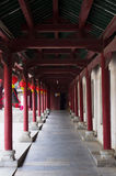 The corridor. Wood structure of red tower corridor Stock Photo