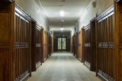 Corridor with wooden doors. In the Faculty of Physics in Moscow State University which was built in 1952 royalty free stock photos