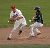 Corridore basso della tazza seconda del Canada di baseball Fotografia Stock Libera da Diritti