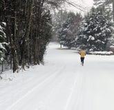 Corridore che pareggia nella neve Fotografie Stock Libere da Diritti