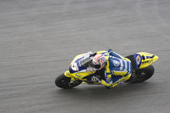 Corridore della motocicletta sulla pista Fotografie Stock