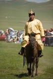 Corridore di cavallo mongolo Immagine Stock