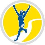 Corridore maratona femminile di Triathlete retro Fotografia Stock Libera da Diritti