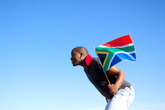 Corridore sudafricano della bandierina fotografia stock libera da diritti
